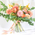 a pastel bridal bouquet of dahlias for wedding flowers