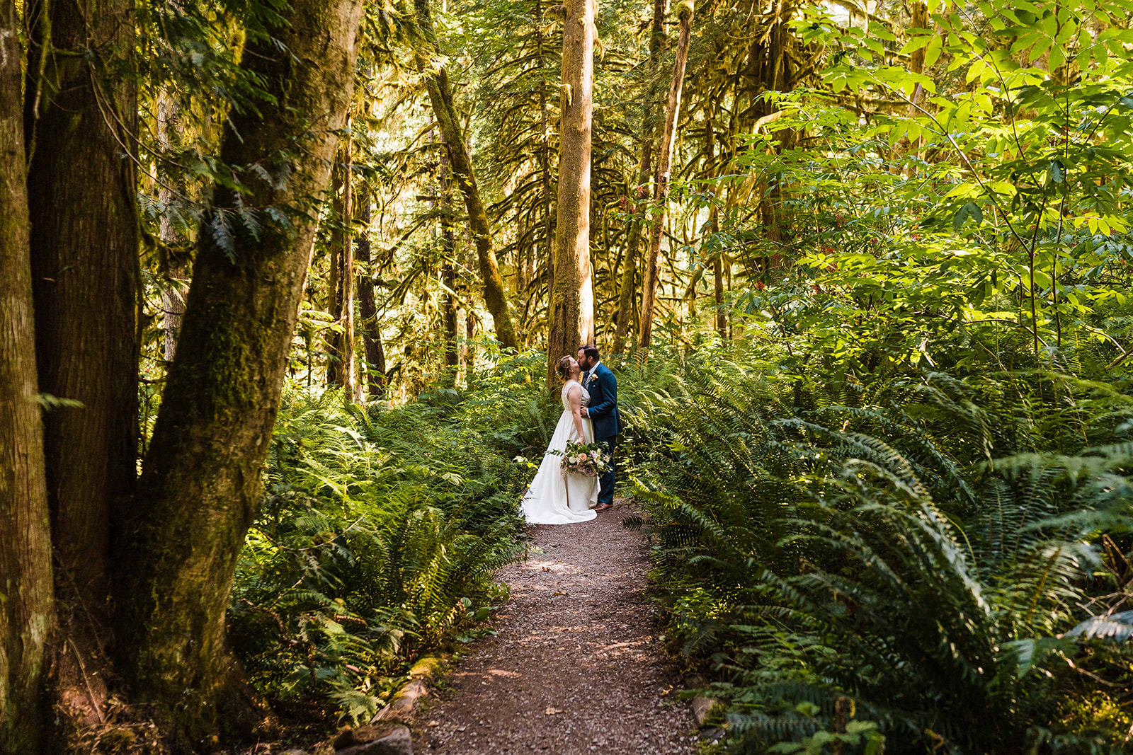 A bride and groom stand in a trail, surrounded by ferns and mossy trees
