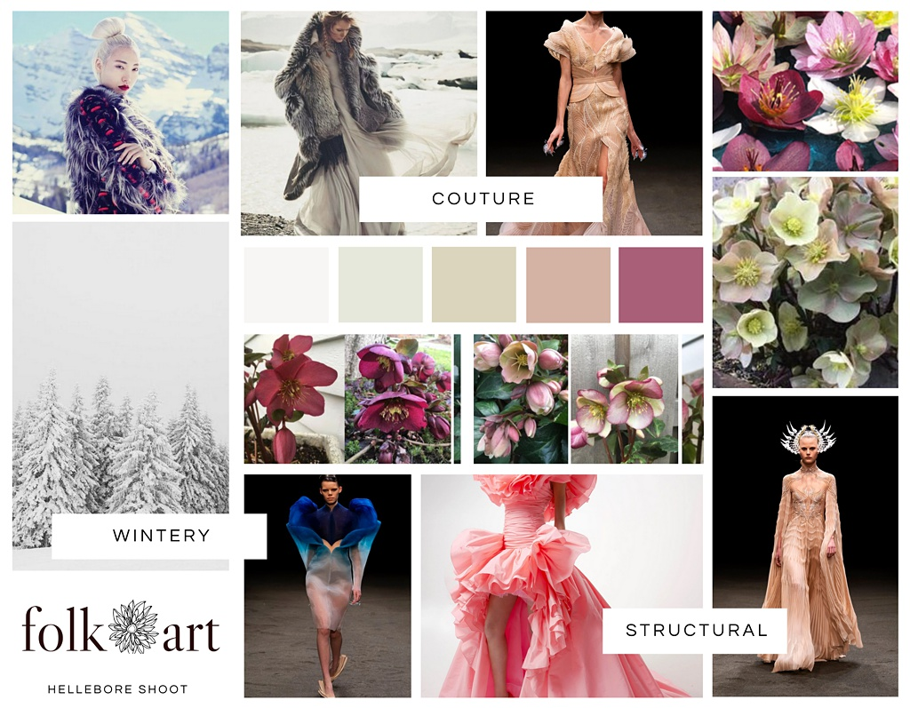 a mood board featuring snowy landscapes, haute couture gowns, hellebores, and a muted color palette