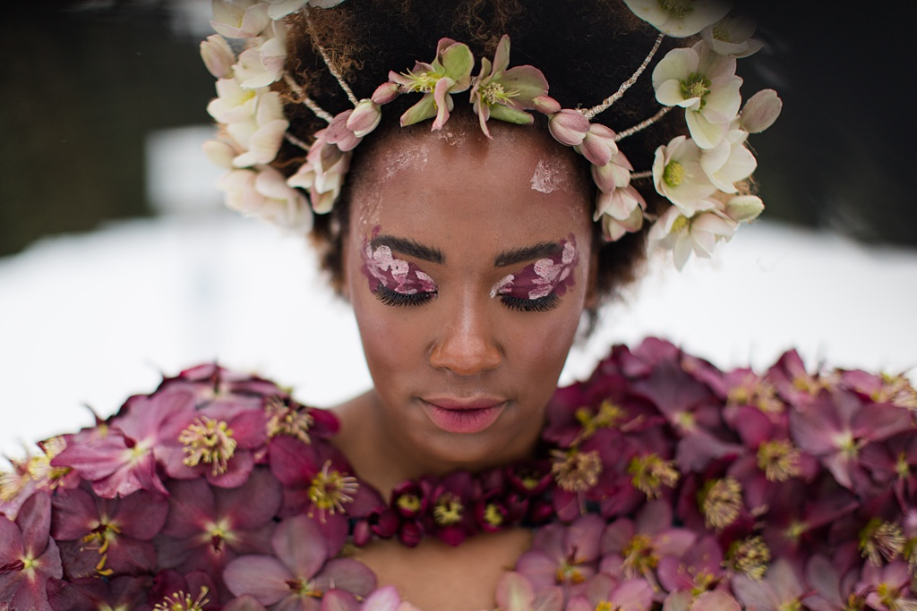 A close up of Tasia's hair and makeup