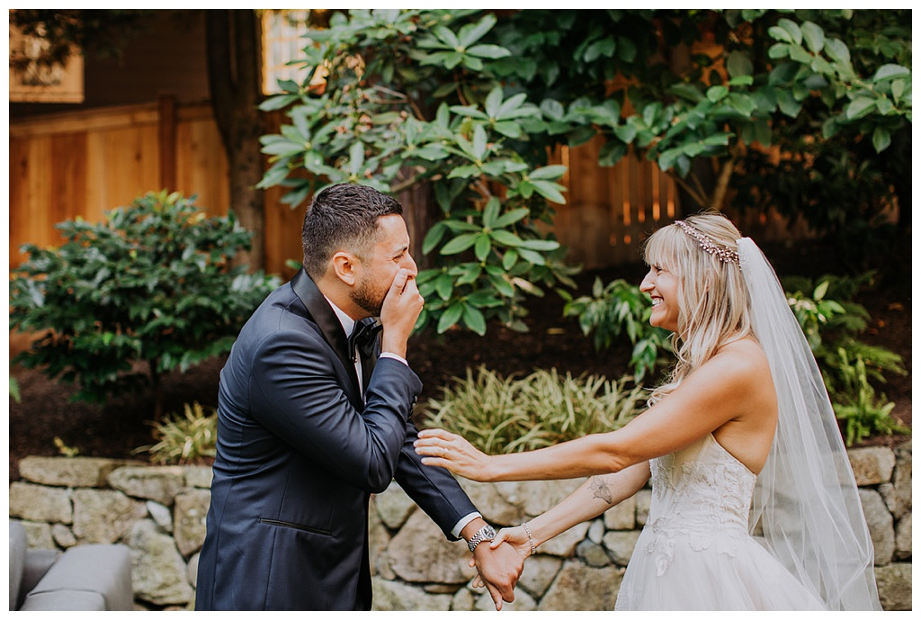 the groom's emotional reaction to seeing his bride for the first time