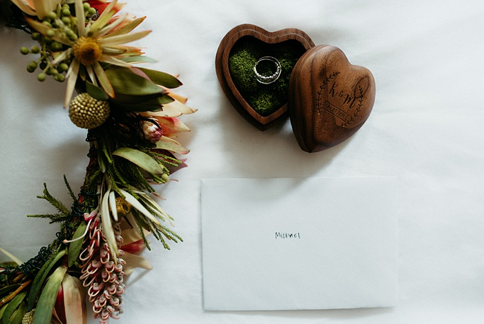 the flower crown, rings, and a heartfelt note