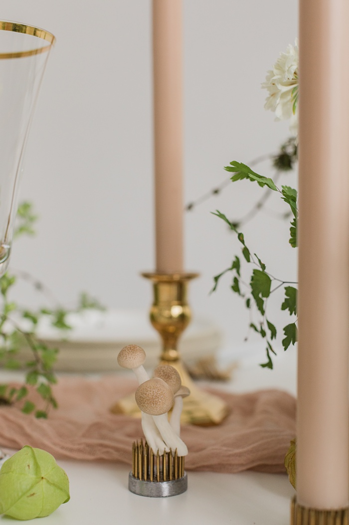 small mushrooms on the table as a part of the floral design