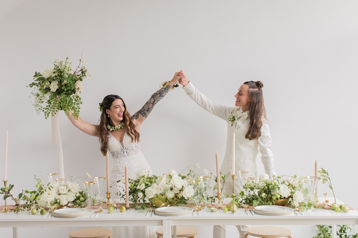 the brides celebrate getting married