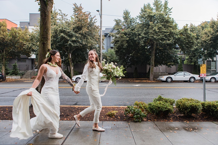 the brides run outside after getting married