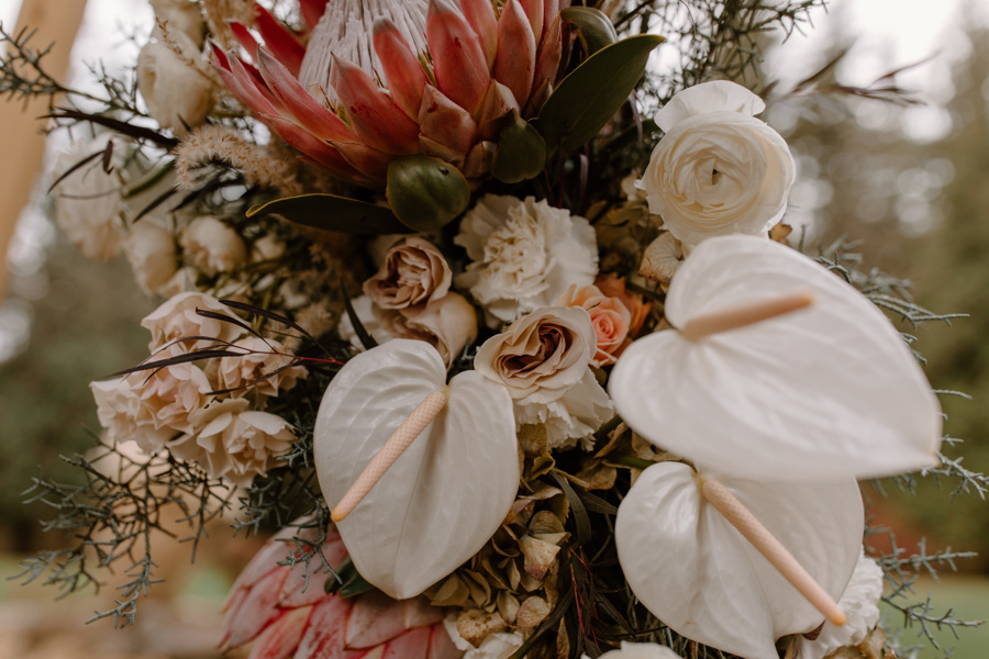 tropical and dried flowers on a modern wedding arch